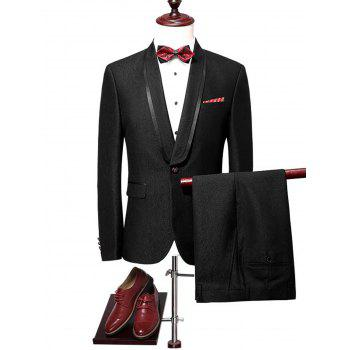 Shawl Collar Flap Pocket Blazer Suit