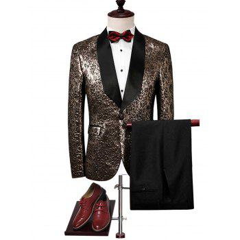 Metallic One Buttton Shawl Collar Blazer Suit