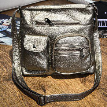 Casual Front Pockets Crossbody Bag -  GOLDEN