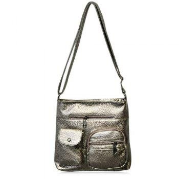 Casual Front Pockets Crossbody Bag - GOLDEN GOLDEN