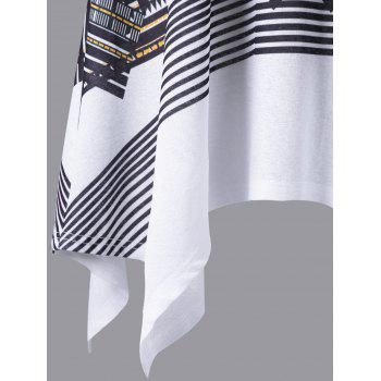 Plus Size Geometric Sleeveless Handkerchief T-shirt - WHITE/BLACK WHITE/BLACK