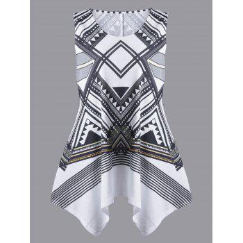 Plus Size Geometric Sleeveless Handkerchief T-shirt - WHITE AND BLACK WHITE/BLACK