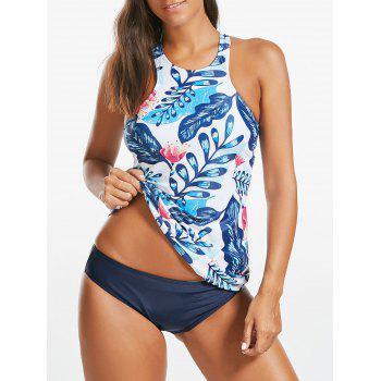 Backless Floral Print Blouson Tankini Set