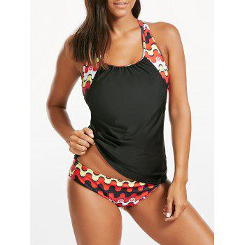 Printed Cut Out Blouson Tankini Set