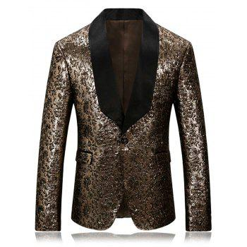 Metallic Shawl Collar One Button Blazer