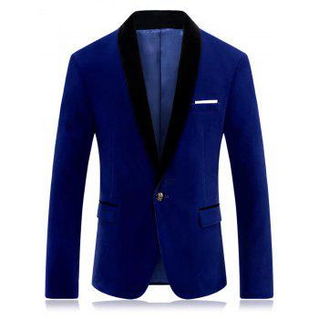 Shawl Collar Flap Pocket Velveteen Blazer