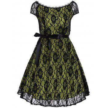 Vintage Slash Neck Lace Fit and Flare Dress