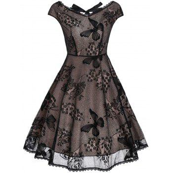 Vintage Cutout Lace Fit and Flare Dress