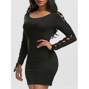 Grommet Lace Up Bodycon Dress