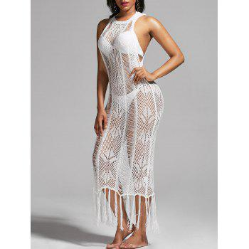 See Through Crochet Fringed Dress