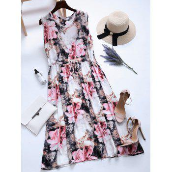 Drawstring Floral Print Sleeveless Dress