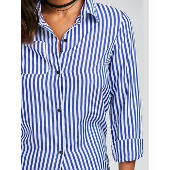 Casual Shirt Collar Stripes Print Long Sleeve Women's Blouse - BLUE/WHITE BLUE/WHITE