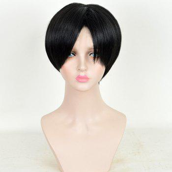Middle Parting Short Bob Straight Titan Levi Ackerman Anime Cosplay Wig