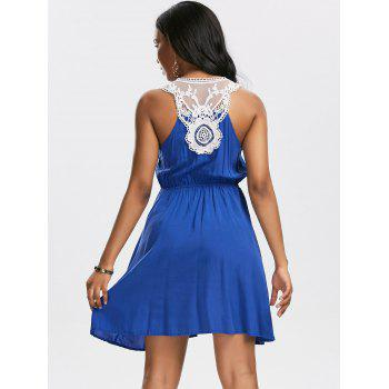 Lace Insert Sleeveless Surplice Tank Dress - BLUE BLUE