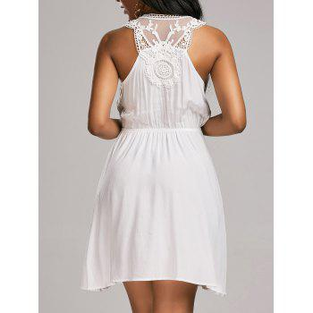 Lace Insert Sleeveless Surplice Tank Dress