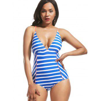 Cross Back Lace Up Striped Swimsuit - 2XL 2XL