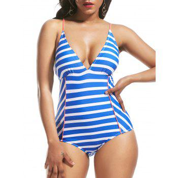 Cross Back Lace Up Striped Swimsuit - BLUE 2XL