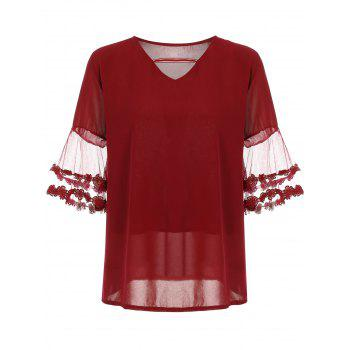 Plus Size Cutout Chiffon Flare Sleeve Blouse - RED RED