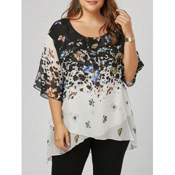 Plus Size Butterfly Print Overlap Blouse