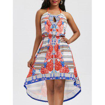 Multicolor Print Halter Long High Low Dress