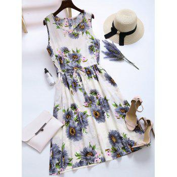 Flower Print Drawstring Pockets Midi Dress