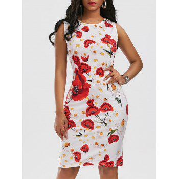 Printed Knee Length Sleeveless Bodycon Dress