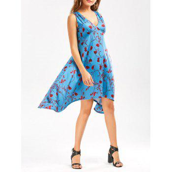 Empire Waist Floral Printed Sleeveless Asymmetrical Dress