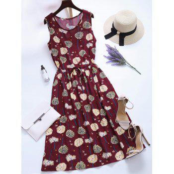 Dandelion Print Drawstring Pockets Midi Dress