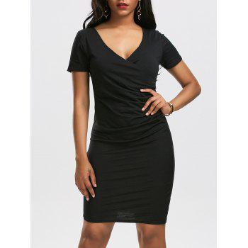 V Neck Surplice Ruched Bodycon Dress