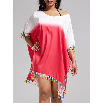 Tassel Trim Ombre Oversized Cover Up Dress