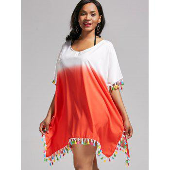 Tassel Trim Ombre Oversized Cover Up Dress - DARKSALMON DARKSALMON