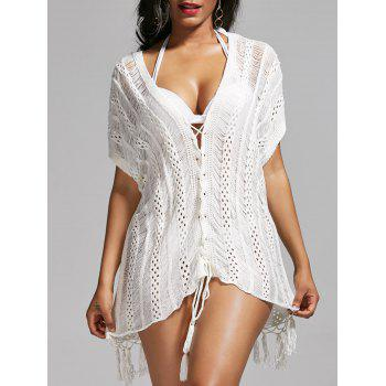 Lace Up Tassel Crochet Cover Up