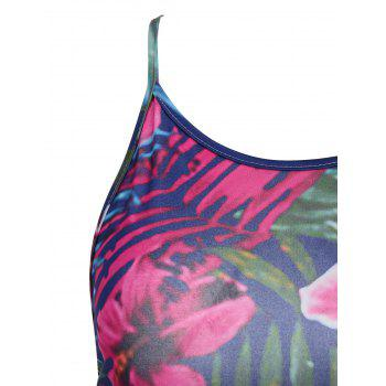 Strappy Top and Floral Print Asymmetrical Skirt - multicolor multicolor