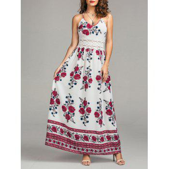 Floral Print Cutout Lace Panel Maxi Dress
