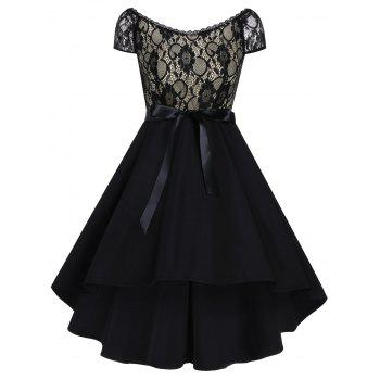 Vintage Lace Panel High Low Dress