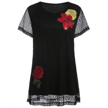 Plus Size Floral Embroidered Openwork T-shirt