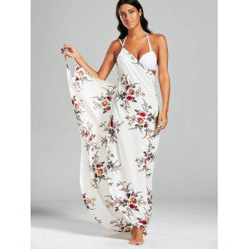 Chiffon Floral Convertible Sarong Wrap Cover Up Dress - WHITE S