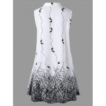 Plus Size Sleeveless Graphic Longline Blouse - WHITE/BLACK 2XL