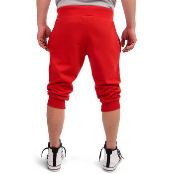 Patriotic Leaf Graphic Print Drawstring Cropped Joggers - RED M