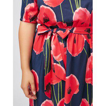 Plus Size Floral Maxi Off The Shoulder Long Beach Dress - DEEP BLUE 6XL