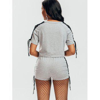 Raglan Sleeve Lace Up T-shirt and Shorts - GRAY XL