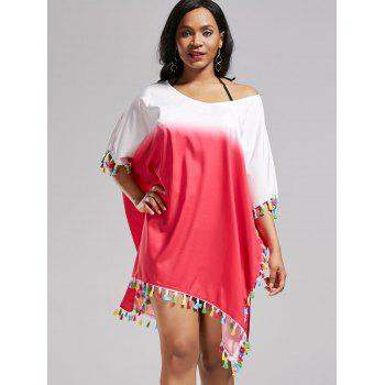 Tassel Trim Ombre Oversized Cover Up Dress - ROSE MADDER ONE SIZE