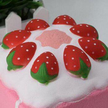 Simulation Food Strawberry Square Cake Slow Rising Squishy Toy - PINK