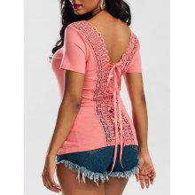 Scoop Neck Lace-up Laced Top