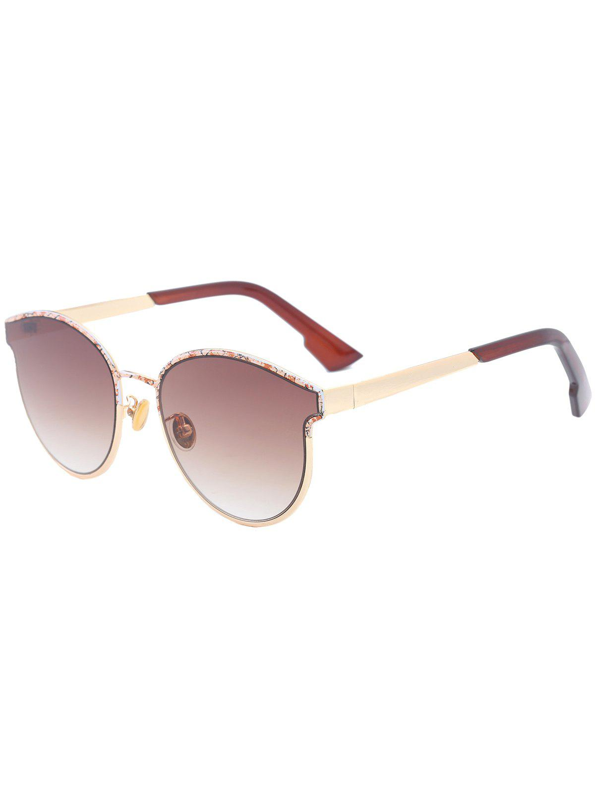 Piebald Frame Spliced Butterfly Shape Sunglasses - TEA COLORED