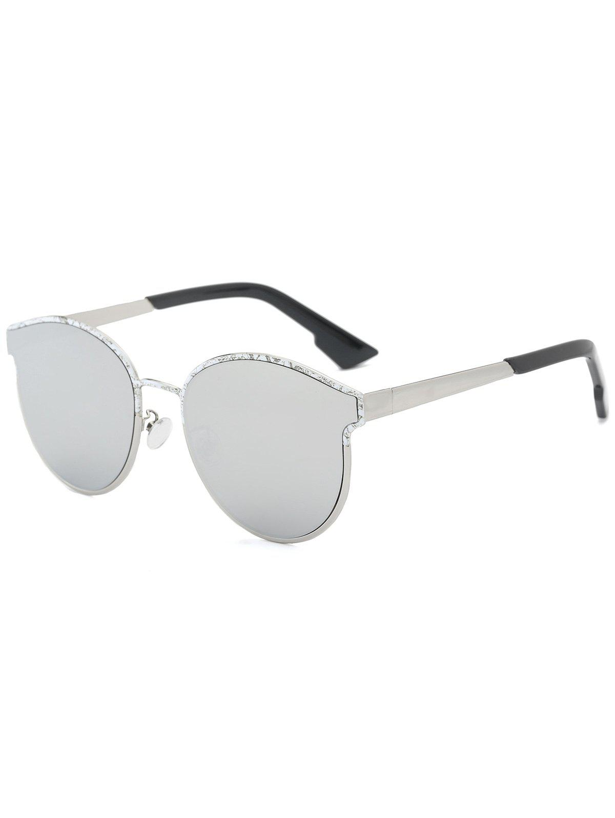 Piebald Frame Spliced Butterfly Shape Sunglasses - SILVER