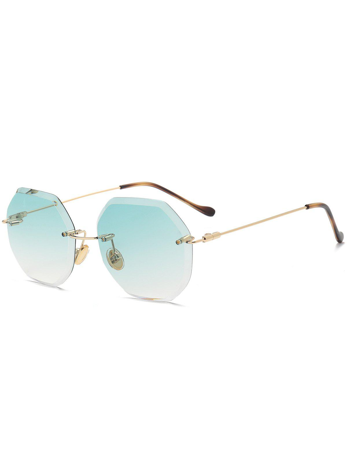 Geometrical Ombre Rimless Sunglasses - GREEN