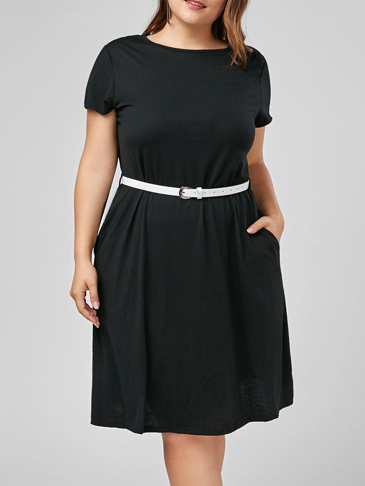 Knee Length A Line Plus Size Dress with Belt plus size collared a line dress with pockets