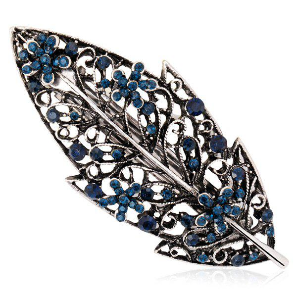 Artificial Sapphire Inlay Hollow Out Leaf Barrette
