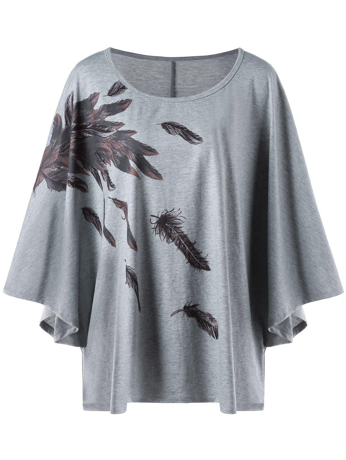 Plus Size Dolman Sleeve Feather Print T-shirt jones o idioms dictionary page 2